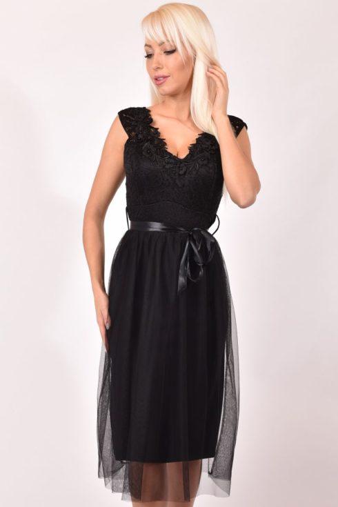 Fekete női alkalmi ruha elasztikus csipkés 800b771270
