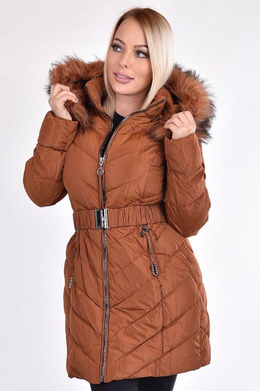 Rozsdabarna félhosszú női téli kabát - TheCollection bd3ad7368a